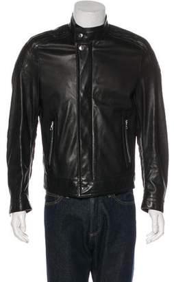 Louis Vuitton Leather Damier-Accented Café Racer Jacket
