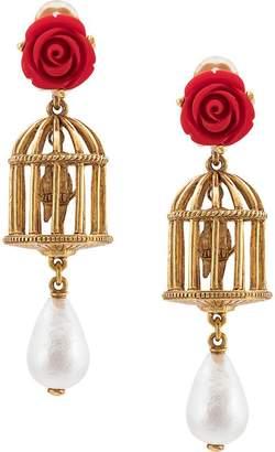 Oscar de la Renta birdcage pendant earrings