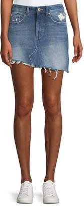 DL1961 Premium Denim Georgia A-Line Asymmetric-Hem Denim Mini Skirt
