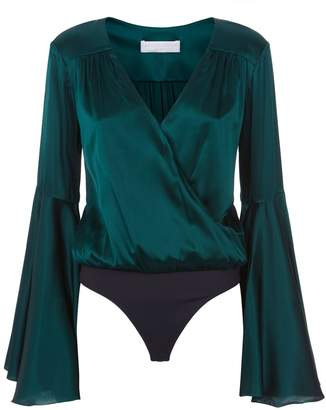 Caroline Constas Bell Sleeve Satin Bodysuit