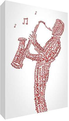 Camilla And Marc Feel Good Art Premium Gallery-Wrapped Box Canvas with Solid Front Panel in Unique Typographic Male Saxophone Player Design, Red, 30 x 30 x 3 cm
