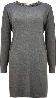 Wallis Grey Embellished Neck Tunic Jumper
