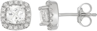 Sterling Silver Lab-Created White Sapphire Cushion Stud Earrings