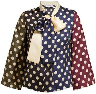 La Prestic Ouiston - Naviglio Pussy Bow Polka Dot Silk Twill Blouse - Womens - Multi
