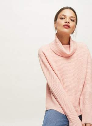 Miss Selfridge Petite pink funnel neck knitted jumper