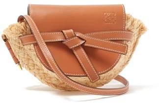 Loewe Gate Mini Leather And Raffia Cross Body Bag - Womens - Tan Multi