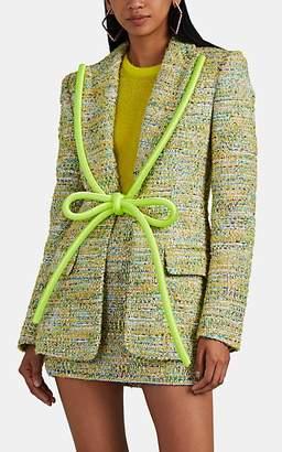 Area Women's Rope-Lapel Metallic Tweed Blazer
