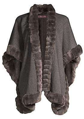 Glamour Puss Glamourpuss Glamourpuss Women's Rabbit Fur-Trimmed Oversize Wool Cape