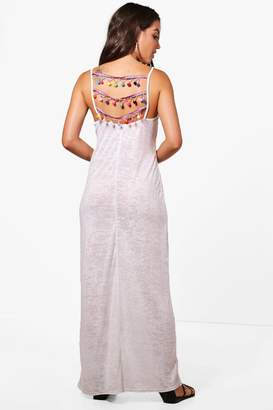 boohoo Tegan Pom Pom Detail Jersey Maxi Beach Dress