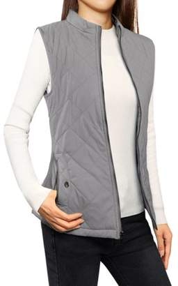 Unique Bargains Woman Zipper Stand Collar Quilted Padded Vest Gray XL