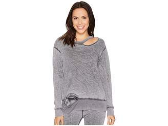 Allen Allen Crew Neck Top with Cut Neck and Hem Women's Clothing