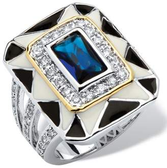 PalmBeach Jewelry Palm Beach Jewelry .88 TCW Emerald-Cut Blue Crystal and Black and White Enamel Art Deco-Style Ring in Silvertone