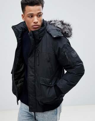 Celio Short Parka With Faux Fur Hood