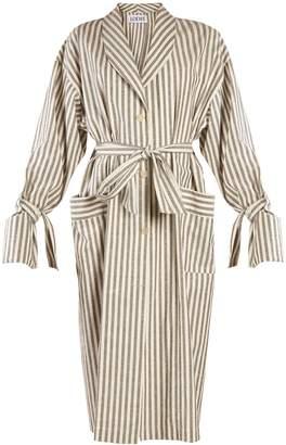 Loewe Tie-waist striped-cotton coat