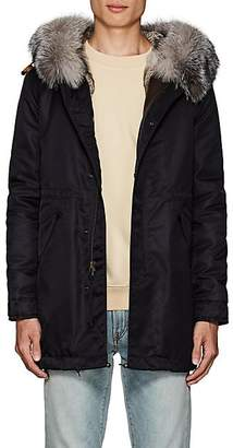 Mr & Mrs Italy Men's Fur-Trimmed & -Lined Polished Twill Midi-Parka - Navy