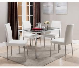 """Pilaster Designs Leina 5 Piece Chrome Metal & Black Tempered Glass Top Modern 48"""" Rectangle Kitchen Dinette Dining Table & 4 White Parsons Side Chairs Set"""