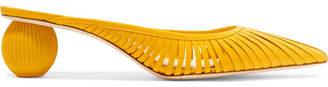 Cult Gaia Alia Leather Mules - Yellow