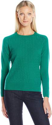 Sag Harbor Women's Crew Neck Cable-Front Pullover Cashmerlon Sweater