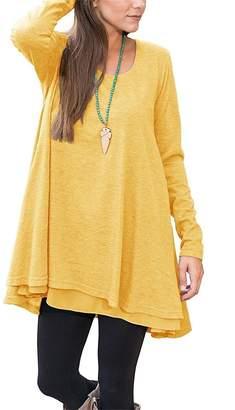 Milis Women Long Sleeve Blouse Layered Scoop Neck Tunic Loose Fit Dress (L, )