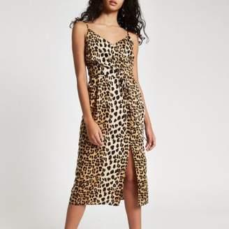 River Island Womens Black leopard print midi slip dress