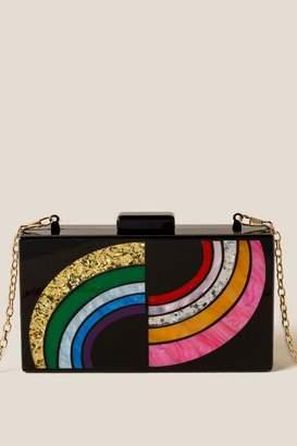 francesca's Lauren Rainbow Hard Case Clutch - Black