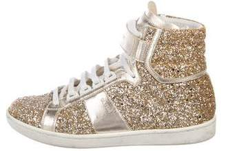 Saint Laurent Glitter High-Top Sneakers