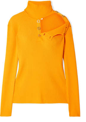 Dion Lee Cutout Ribbed Stretch-knit Turtleneck Sweater - Marigold