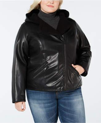 Levi's Plus Size Faux Sherpa-Lined Hooded Moto Jacket