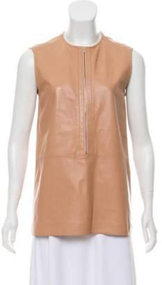 Calvin Klein Collection Leather Sleeveless Top