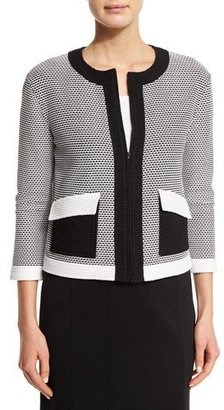 St. John Collection Hooked Cord Knit Zip Jacket, Bianco/Caviar $1,395 thestylecure.com