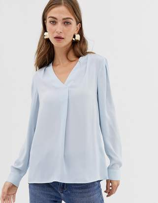 Warehouse blouse with v-neck in light blue