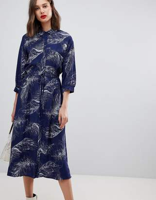 Warehouse feather printed midi shirt dress in navy