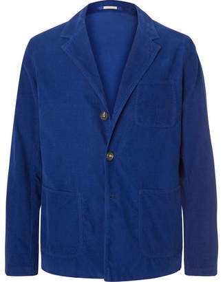 Massimo Alba Blue Unstructured Cotton-Corduroy Blazer
