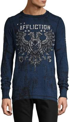 Affliction Graphic Reversible Long-Sleeve Cotton Top