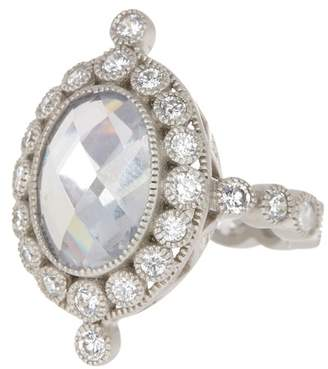 Freida Rothman Sterling Silver Oval & Circle CZ Detail Cocktail Ring