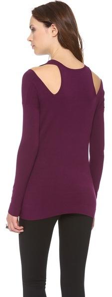 Donna Karan Long Sleeve Cold Shoulder Tunic