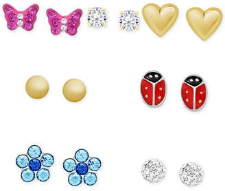 Macy's Children's 7-Pc. Set Colored Crystal Stud Earrings