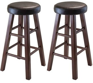 Winsome Wood Marta Cushion Seat Counter Stools, 2PC, Espresso & Walnut