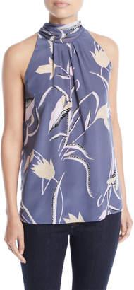 Diane von Furstenberg Sleeveless High-Neck Floral-Print Blouse