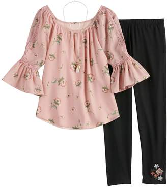 Knitworks Girls 7-16 & Plus Size Elbow Sleeve Top & Leggings Set with Necklace