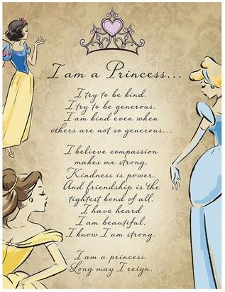 "Artissimo Disney Princess ""I Am A Princess"" Glitter Canvas Wall Art"