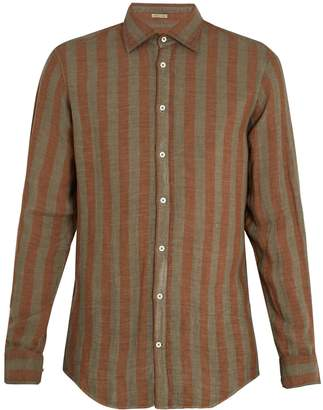 Massimo Alba Point-collar striped linen shirt
