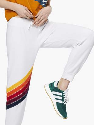 Aviator Nation Cross Stripe Sweatpant - White
