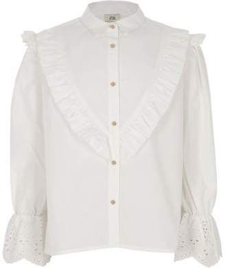 River Island Girls white poplin embroidered sleeve shirt