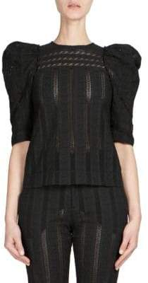 Chloé Embroidered Puff-Sleeve Top