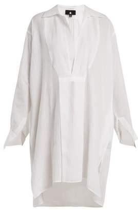 Su - Tara Point Collar Semi Sheer Kaftan - Womens - White