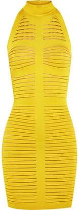 Balmain Cutout Ribbed Stretch-Knit Mini Dress
