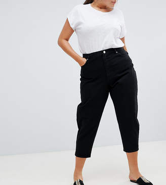 Asos DESIGN Curve balloon boyfriend jeans in clean black