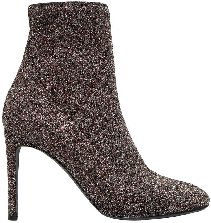 90mm Stretch Glitter Lurex Ankle Boots