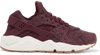 Nike - Air Huarache Run Embossed Leather And Mesh Sneakers - Burgundy $130 thestylecure.com